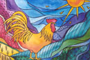 Watercolour of Birds - Golden Cockerel