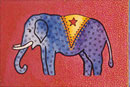 Watercolour of Animals - Elephant with Stars