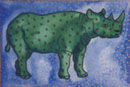 Watercolour of Animals - Rhino with Stars