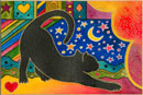 Watercolour of Animals - Stretching Black Cat