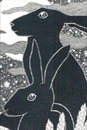 Pen and Ink Drawing of Animals - Moon Hares