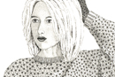 Pen and Ink Figurative Drawing - girl in baggy jumper