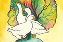 Watercolour of Birds - Three Geese